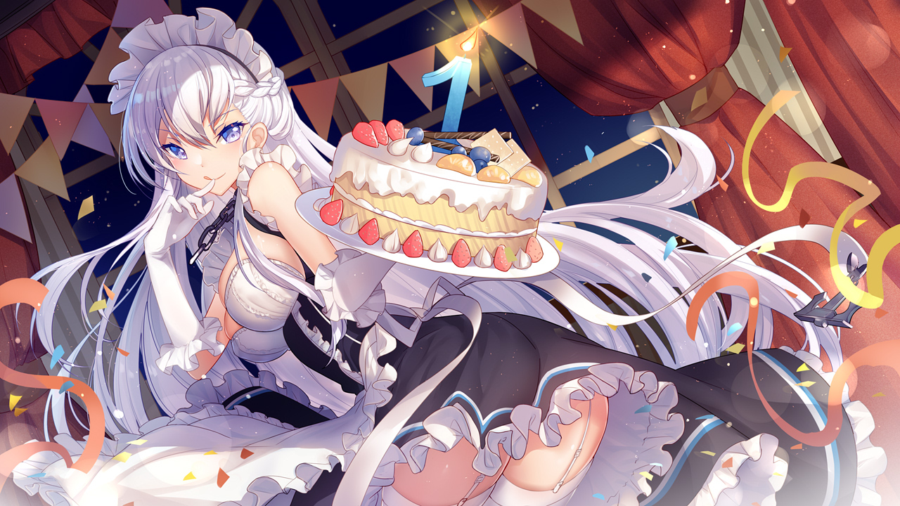 anthropomorphism azur_lane belfast_(azur_lane) bisonbison blue_eyes braids cake chain dress elbow_gloves food garter_belt gloves headdress long_hair maid thighhighs white_hair