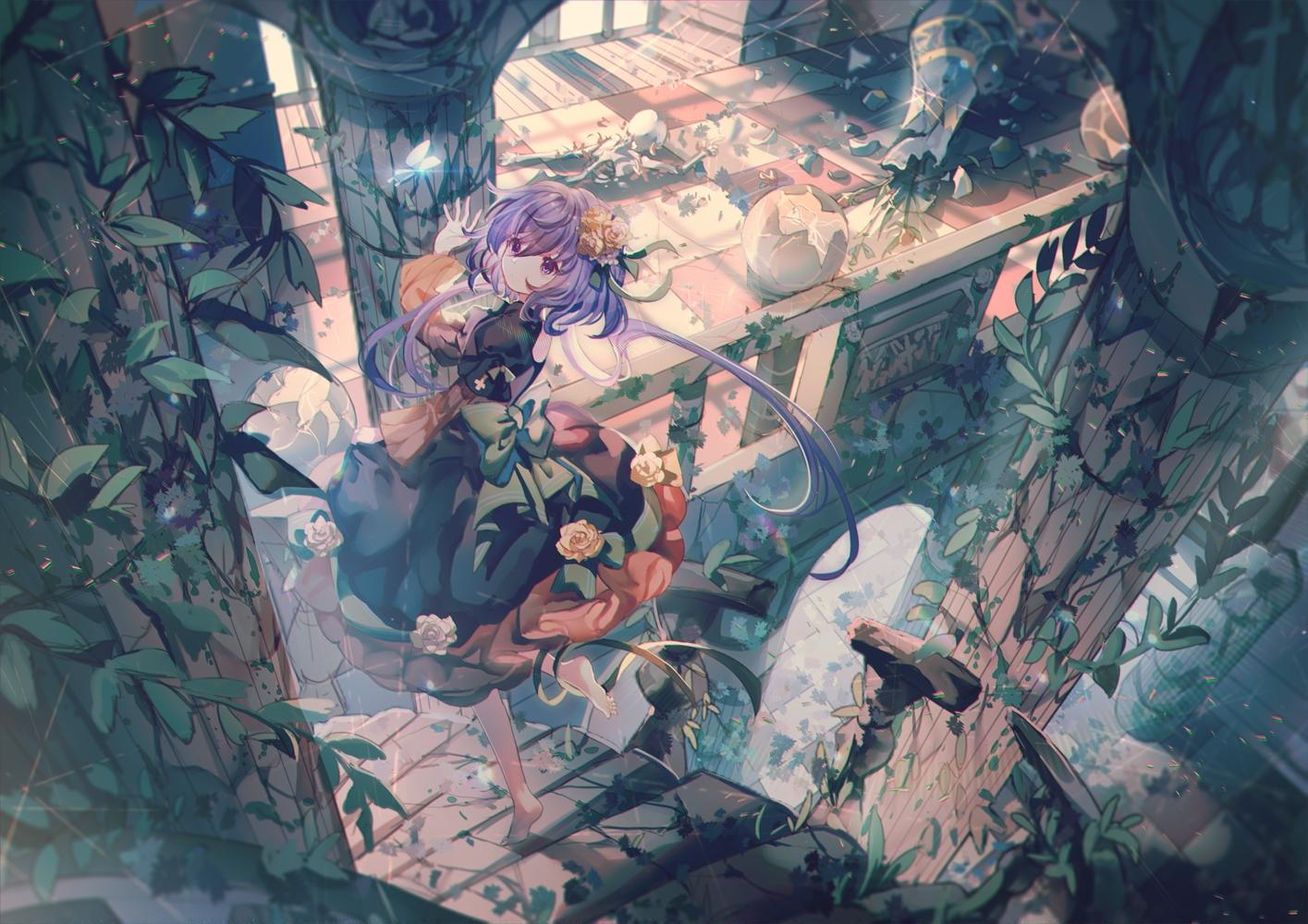 barefoot dress flowers purple_eyes purple_hair rose ruins scenic stairs touhou tsukumo_benben yasato