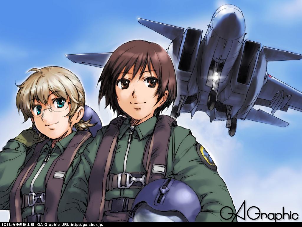 2girls aircraft aqua_eyes blonde_hair brown_eyes brown_hair gagraphic glasses logo military shirayuki_shoushirou short_hair uniform watermark