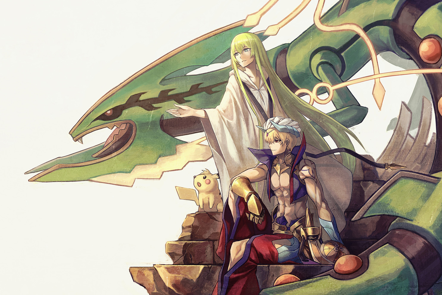aegislash a-er_(akkij0358) blonde_hair crossover elbow_gloves enkidu fate/grand_order fate_(series) gilgamesh gloves green_eyes green_hair hat horns long_hair male pikachu pokemon rayquaza red_eyes short_hair tattoo white