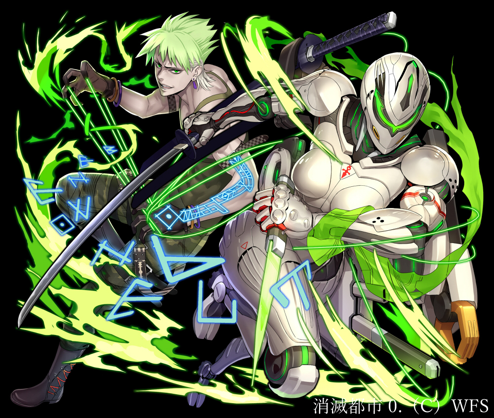 armor boots gloves green_eyes green_hair katana knife magic male ogami robot short_hair sword tattoo techgirl weapon