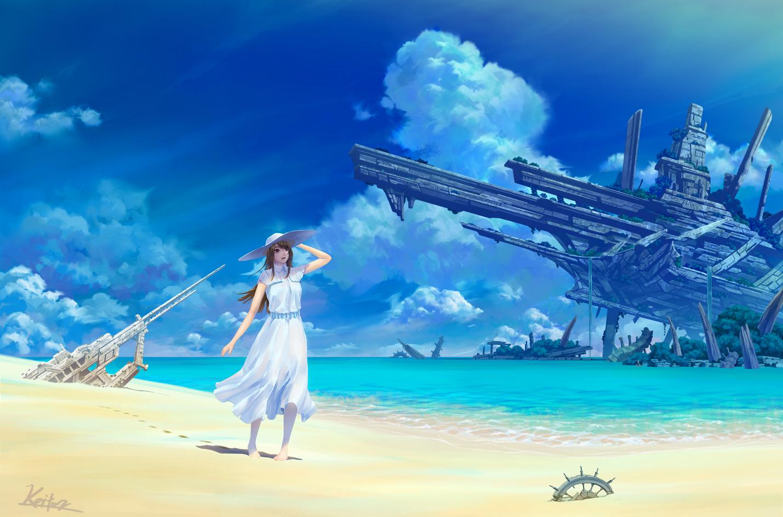 beach clouds dress hat kaitan original ruins scenic signed sky summer_dress water