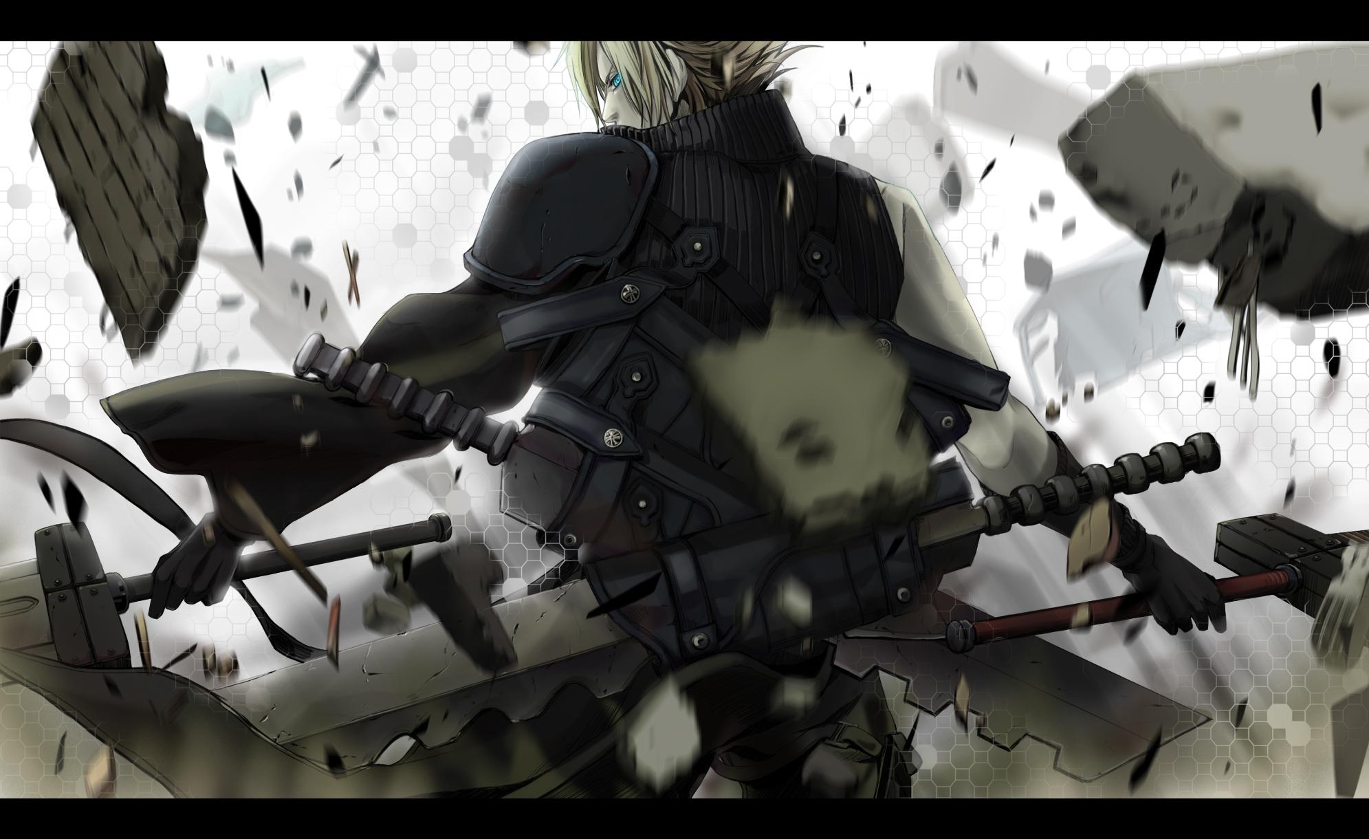 blonde_hair blue_eyes cloud_strife final_fantasy final_fantasy_vii final_fantasy_vii_advent_children short_hair sword weapon