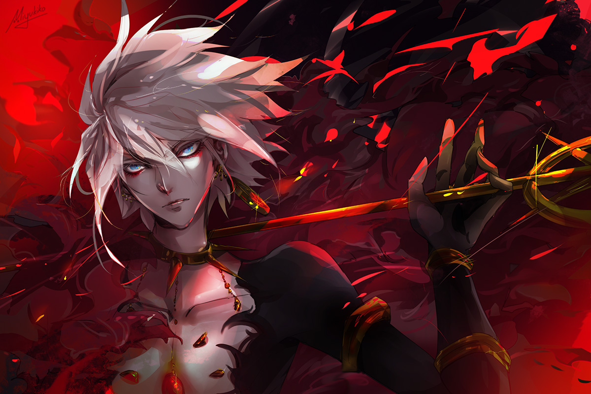 all_male aqua_eyes fate/apocrypha fate_(series) gray_hair jpeg_artifacts karna male short_hair signed tagme_(artist) weapon