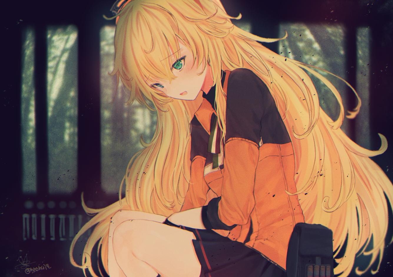 anthropomorphism blonde_hair blush forest girls_frontline green_eyes long_hair s.a.t.8_(girls_frontline) signed skirt tree tsunano_(koi_pink)