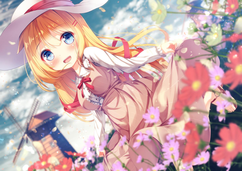 akai_haato blonde_hair blue_eyes blush chinomaron clouds dress flowers hat hololive long_hair ribbons skirt_lift sky windmill