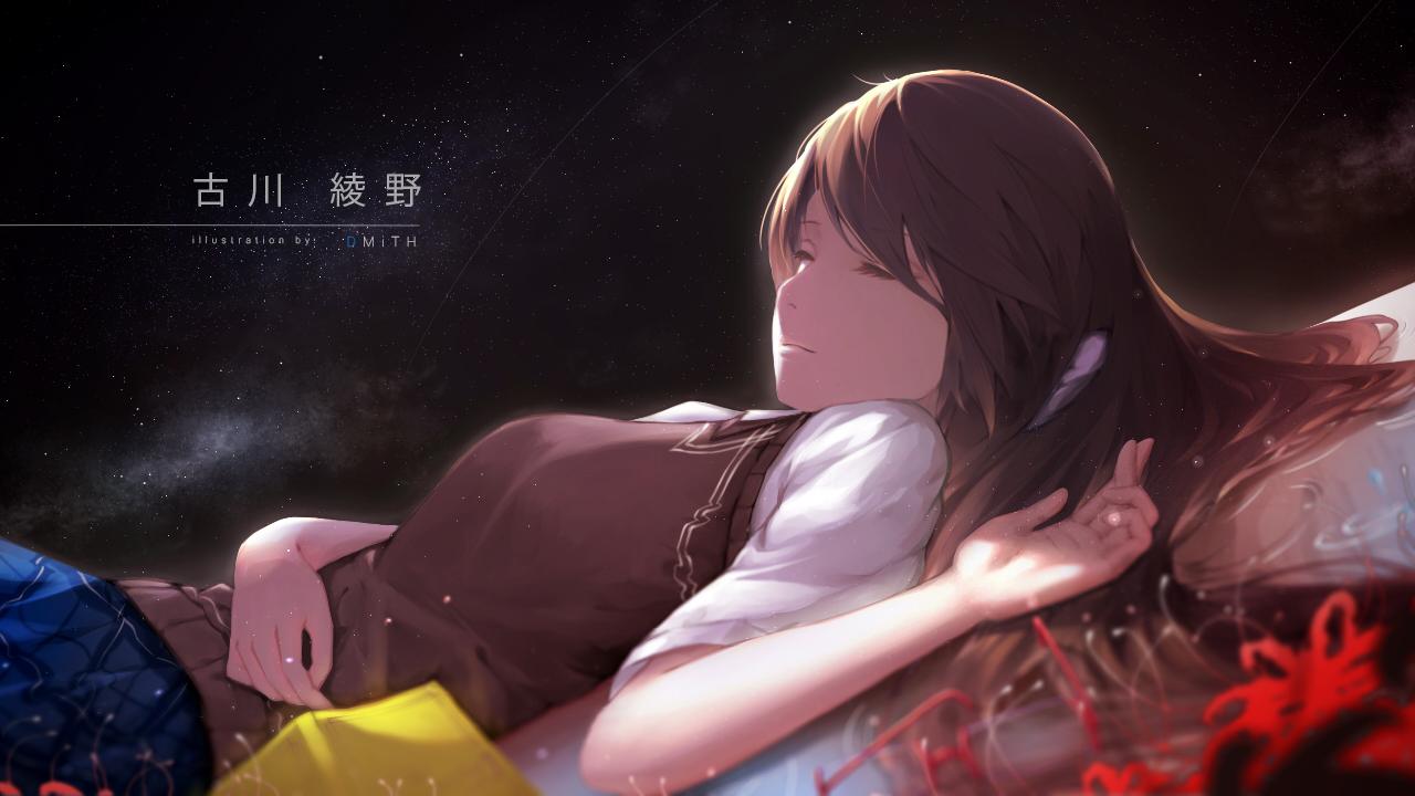 bagus_casbon brown_hair flowers long_hair original school_uniform sleeping space watermark