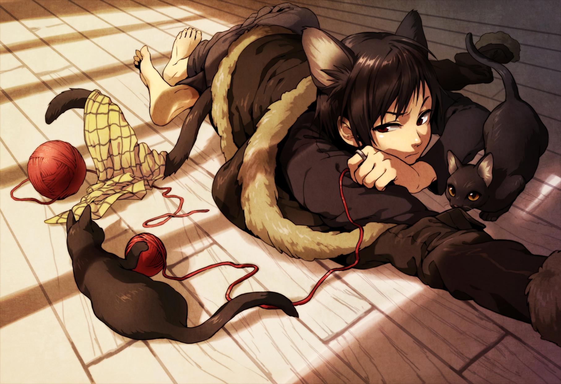 all_male animal animal_ears barefoot black_hair cat catboy durarara!! male orihara_izaya red_eyes sue910 tail
