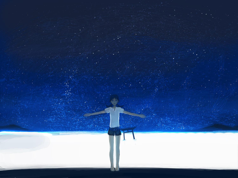 blue blue_eyes narutaru night shimetta_oshime shorts sky stars tamai_shiina water