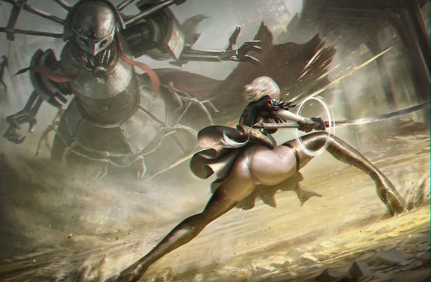 ass boots gloves katana leotard nier nier:_automata robot short_hair simone_(nier) sword thighhighs wang_chen weapon yorha_unit_no._2_type_b