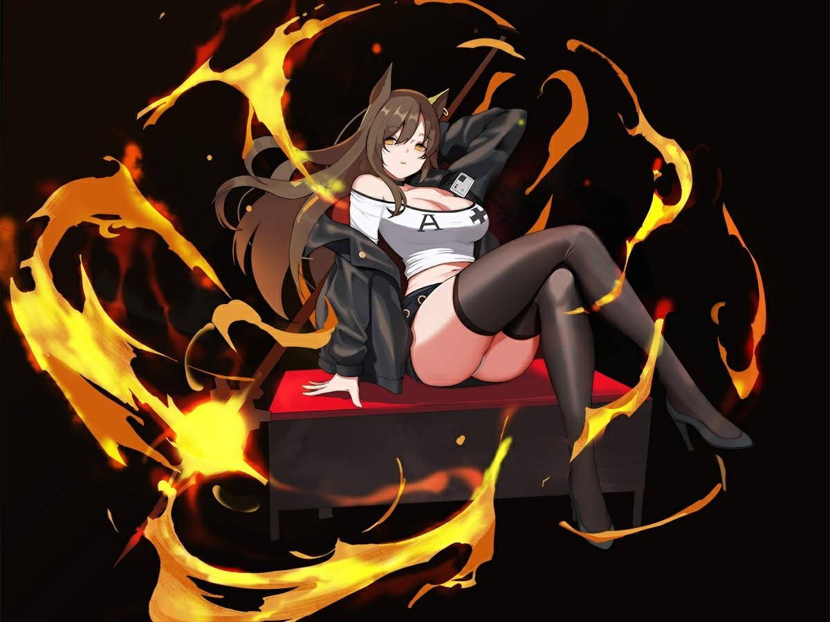 animal_ears black breasts brown_hair cleavage cropped fire gg-e long_hair magic original panties skirt staff thighhighs underwear upskirt yellow_eyes