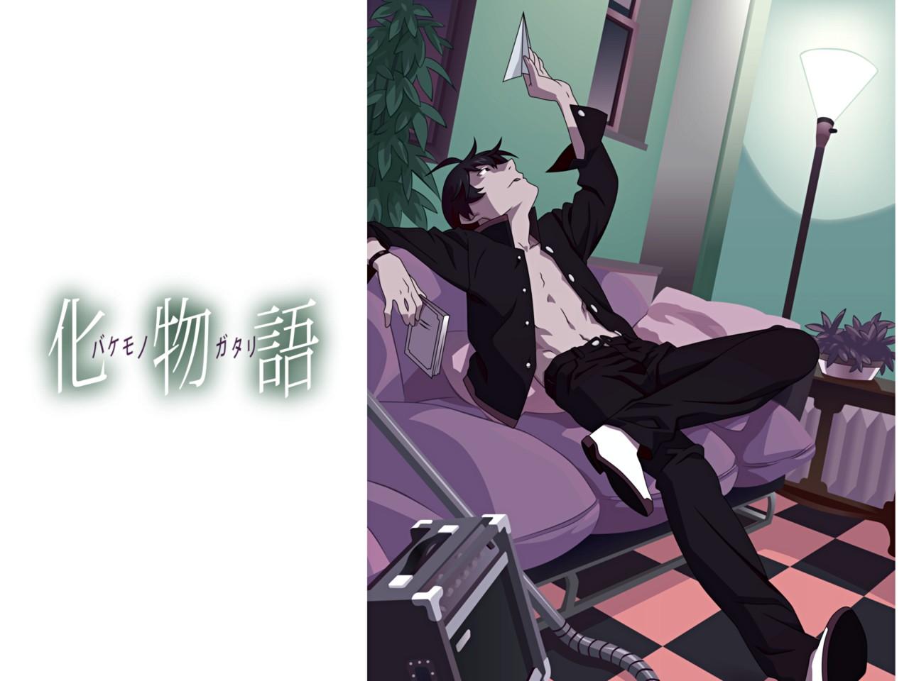 all_male araragi_koyomi bakemonogatari black_eyes black_hair book male monogatari_(series) open_shirt short_hair tagme_(artist)