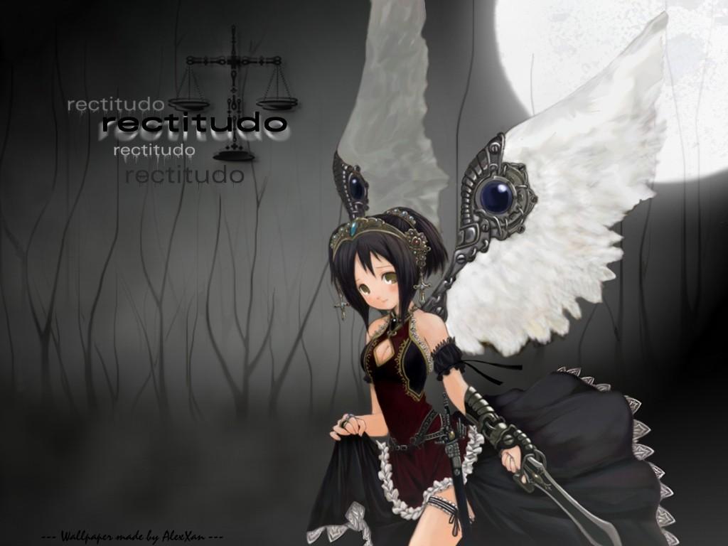 black_hair cross crown dress moon original short_hair sword tagme_(artist) weapon wings yellow_eyes