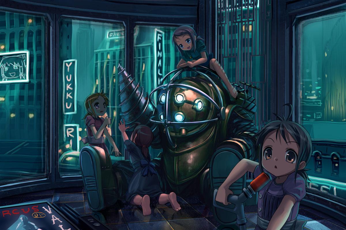 big_daddy bioshock bioshock_(series) hakurei_reimu little_sister patorishia touhou yukkuri_shiteitte_ne