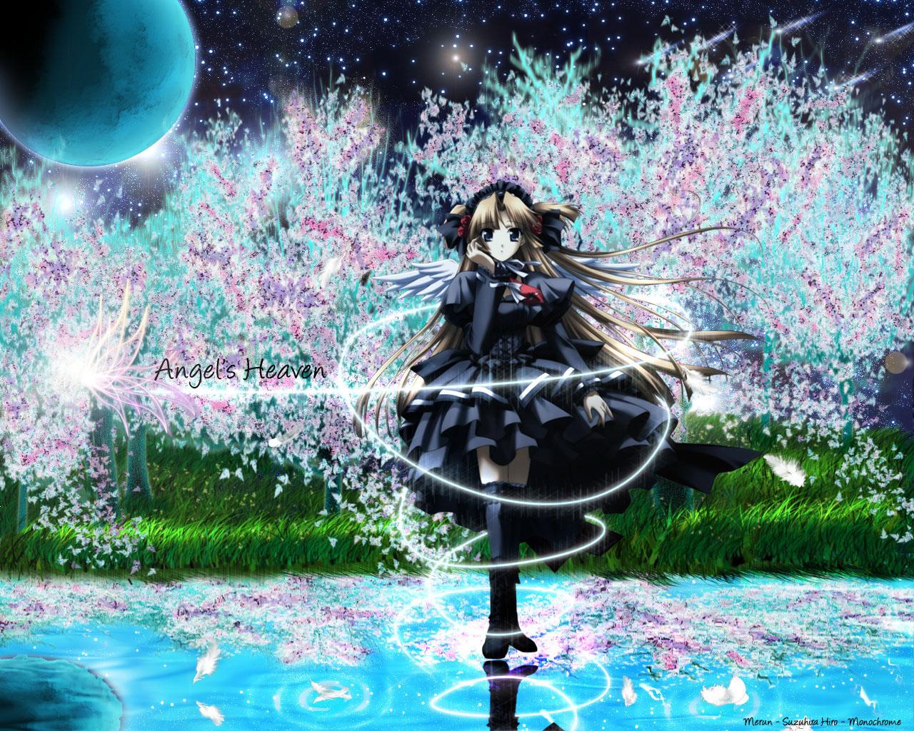 angel blonde_hair blue_eyes feathers monochrome_(game) suzuhira_hiro thighhighs third-party_edit wings yun