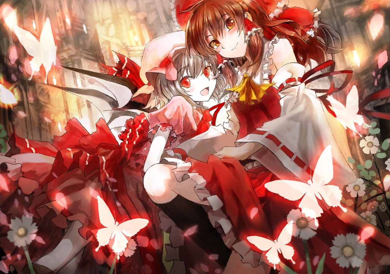 bow brown_eyes brown_hair butterfly dress flowers gray_hair hakurei_reimu hat japanese_clothes kneehighs leaves miko red_eyes remilia_scarlet touhou ultimate_asuka vampire wings