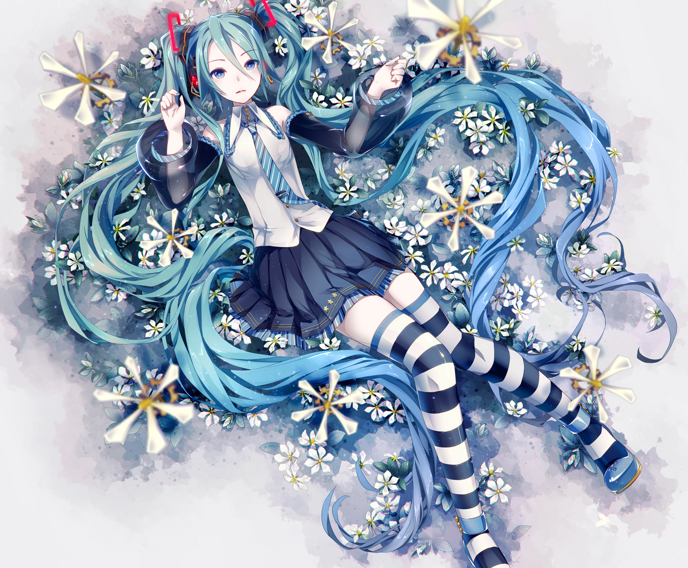 aqua_hair blue_eyes hatsune_miku hatsune_miku_(vocaloid3) ikushima long_hair skirt thighhighs tie twintails vocaloid zettai_ryouiki