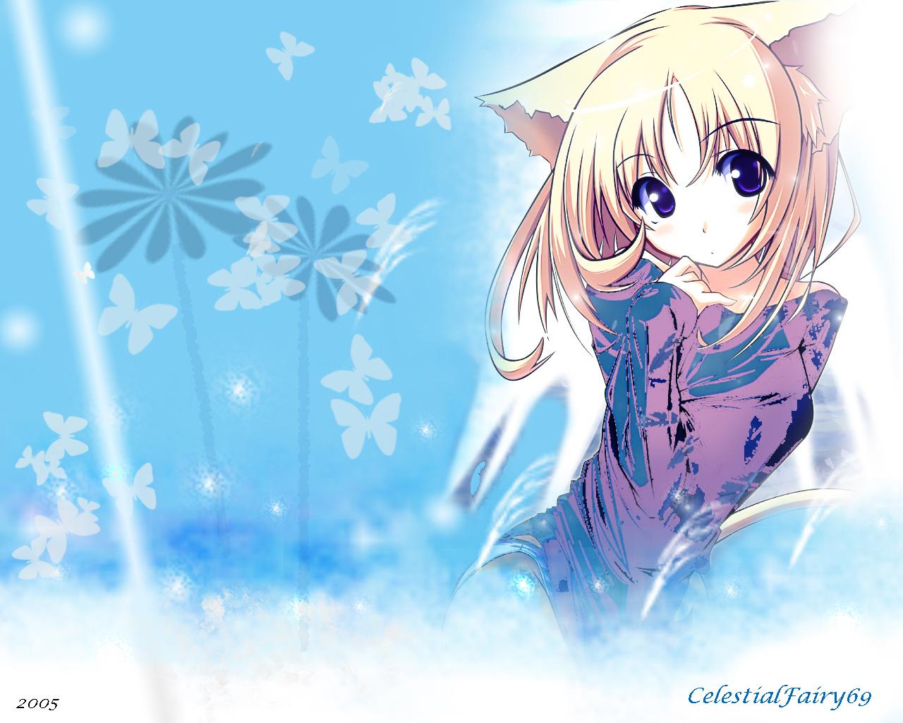 animal_ears blonde_hair blue_eyes catgirl panties short_hair signed tail underwear