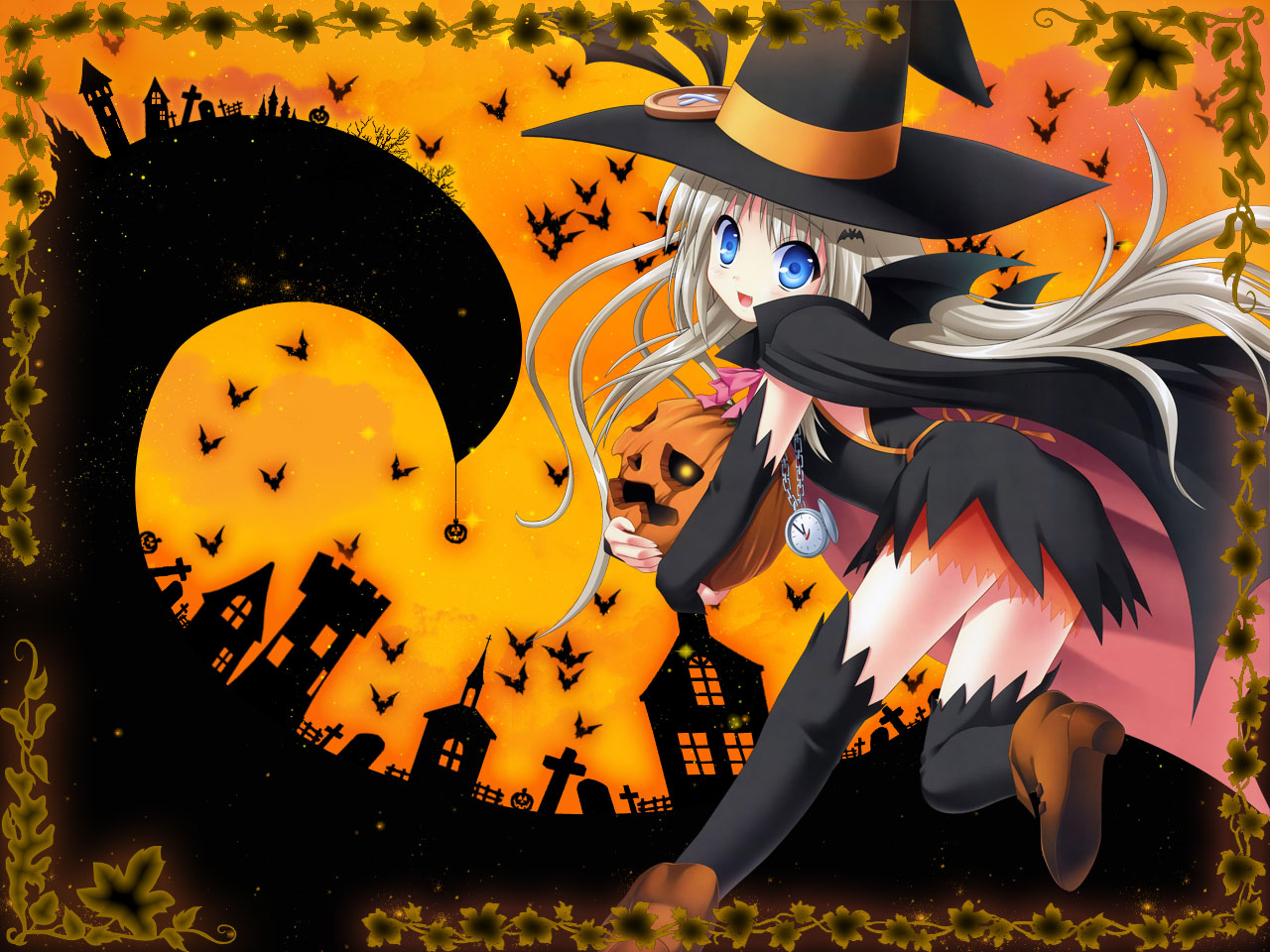 animal bat blue_eyes halloween little_busters! long_hair na-ga noumi_kudryavka pumpkin white_hair witch