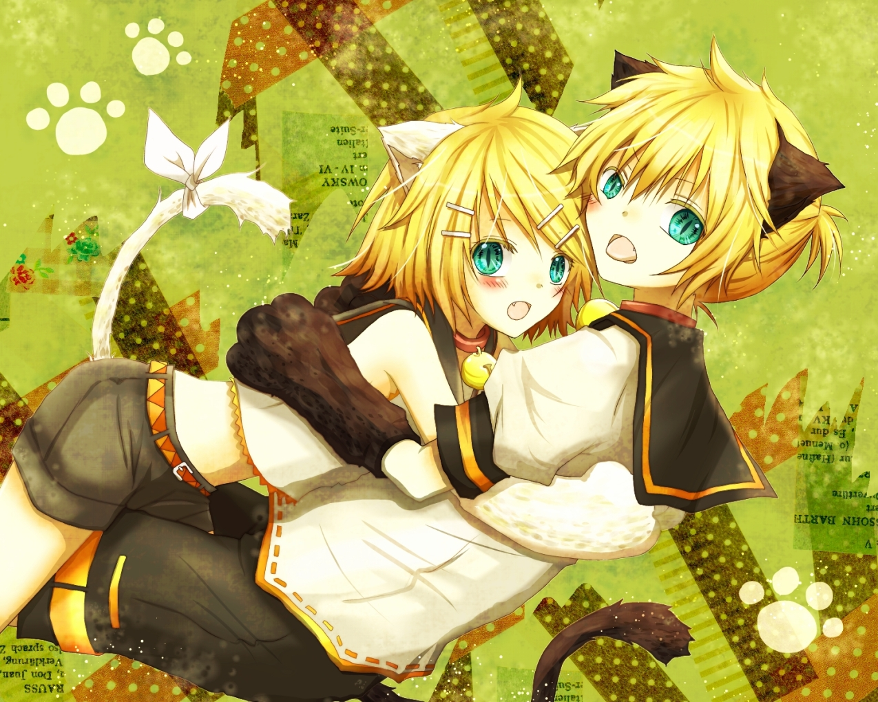 animal_ears blonde_hair catboy catgirl hug kagamine_len kagamine_rin male tail utaori vocaloid