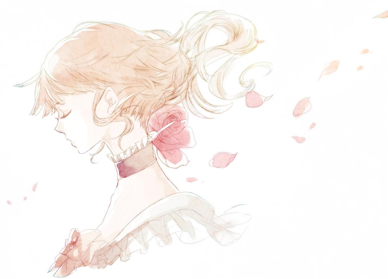 beatrice blonde_hair choker flowers ononchi petals umineko_no_naku_koro_ni white