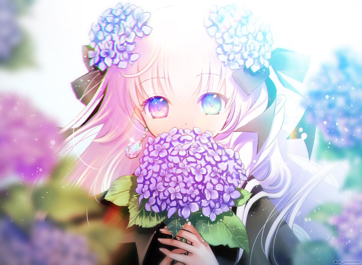 bicolored_eyes bow close flowers long_hair original pink_hair plastic_moon_(pixiv) watermark