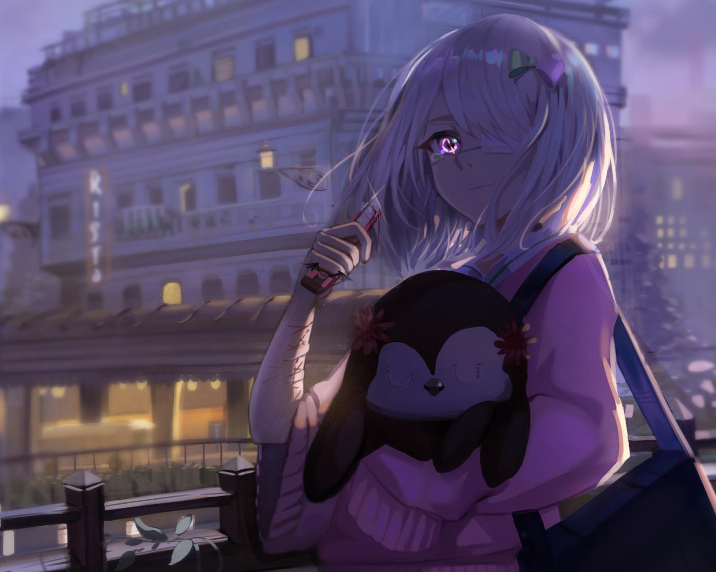 amagai_kosame blood building cropped eyepatch kirbyheimi knife mahou_shoujo_site purple_eyes tears white_hair