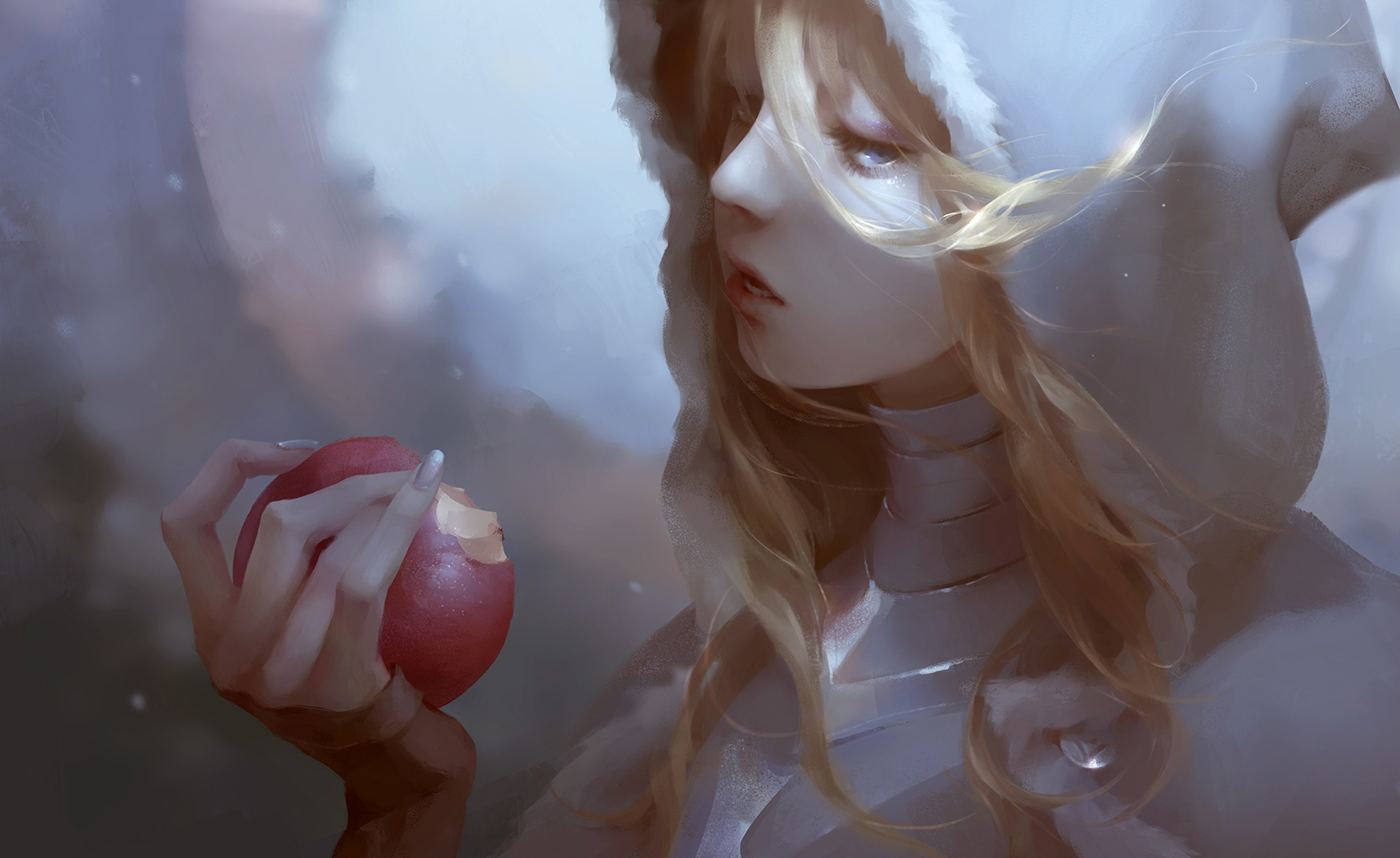 apple armor blonde_hair blue_eyes close food fruit hoodie jlien- long_hair original realistic