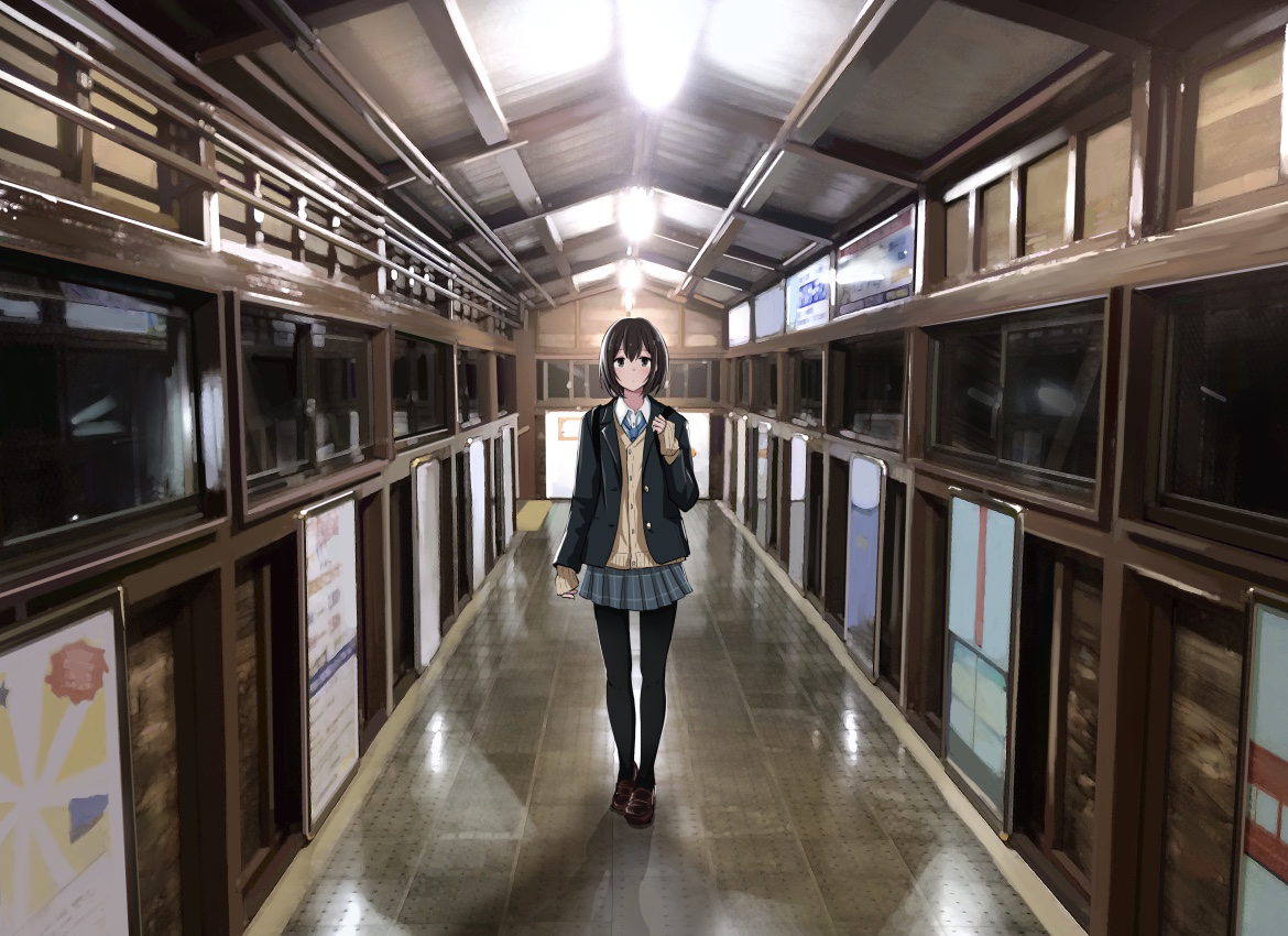 aliasing black_hair original pantyhose sakeharasu scenic school_uniform short_hair skirt