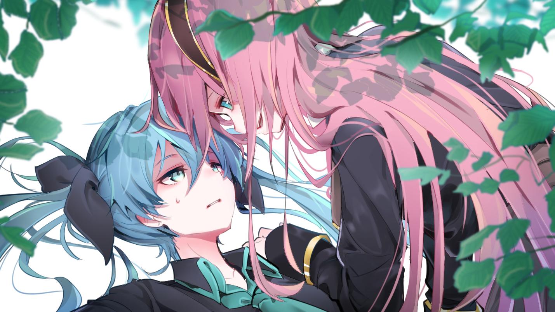2girls aqua_eyes aqua_hair close hatsune_miku headband leaves long_hair megurine_luka pink_hair shoujo_ai twintails vocaloid wanaxtuco
