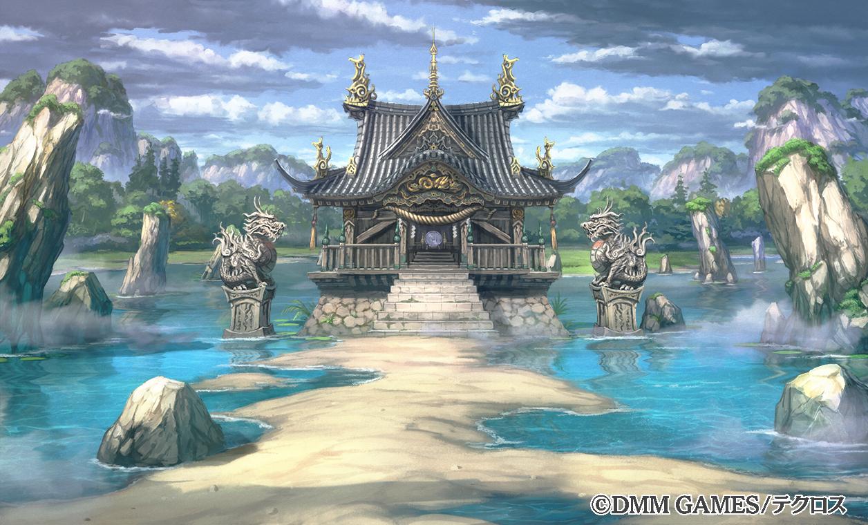 clouds dmm nobody original scenic shiki_makoto shrine sky stairs water