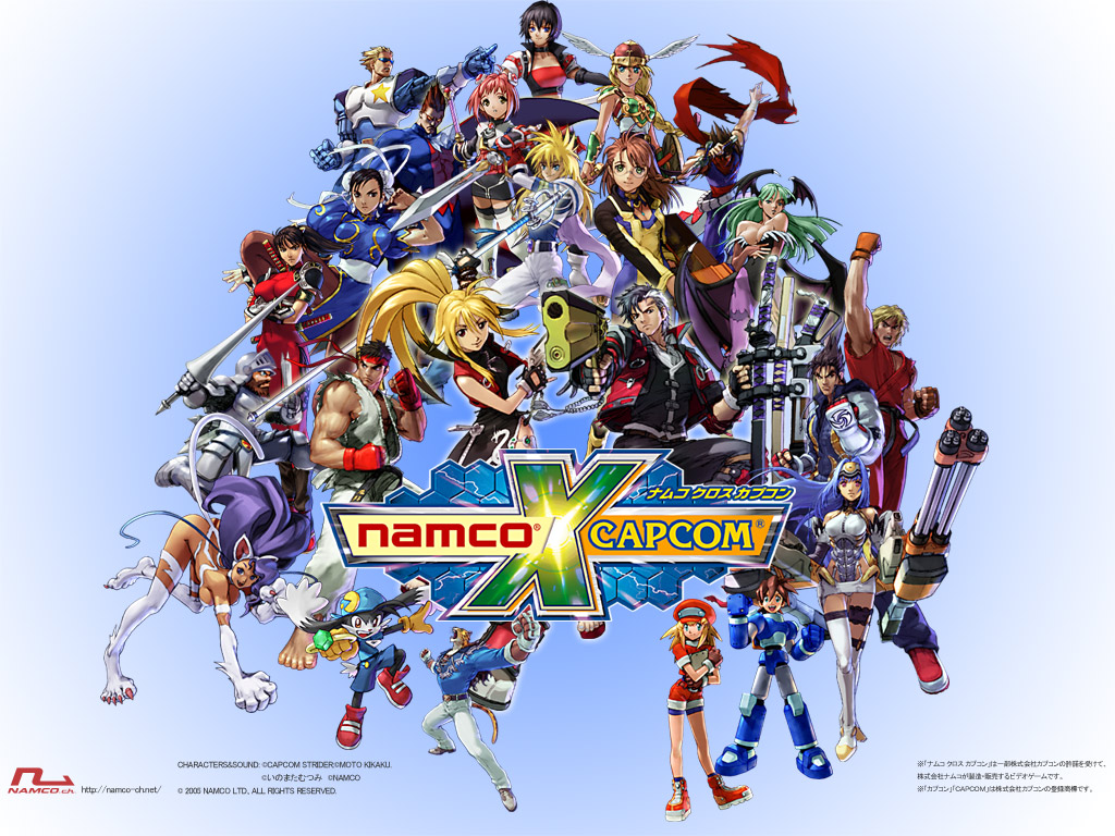 animal_ears capcom captain_commando catgirl chun-li darkstalkers demitri_maximoff felicia group gun jpeg_artifacts ken_masters klonoa kos-mos logo morrigan_aensland namco_x_capcom ninja rockman roll_caskett ryuu_(street_fighter) sir_arthur soul_calibur street_fighter strider_hiryu sword tagme tagme_(character) tail taki watermark weapon xenosaga