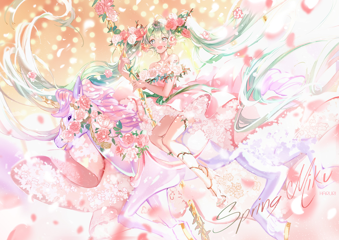 animal dress flowers green_eyes green_hair hatsune_miku horse long_hair mullpull petals rose spring twintails vocaloid watermark