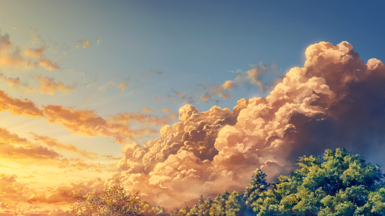 clouds forest nobody original scenic sky sunset tree yuu_knmy