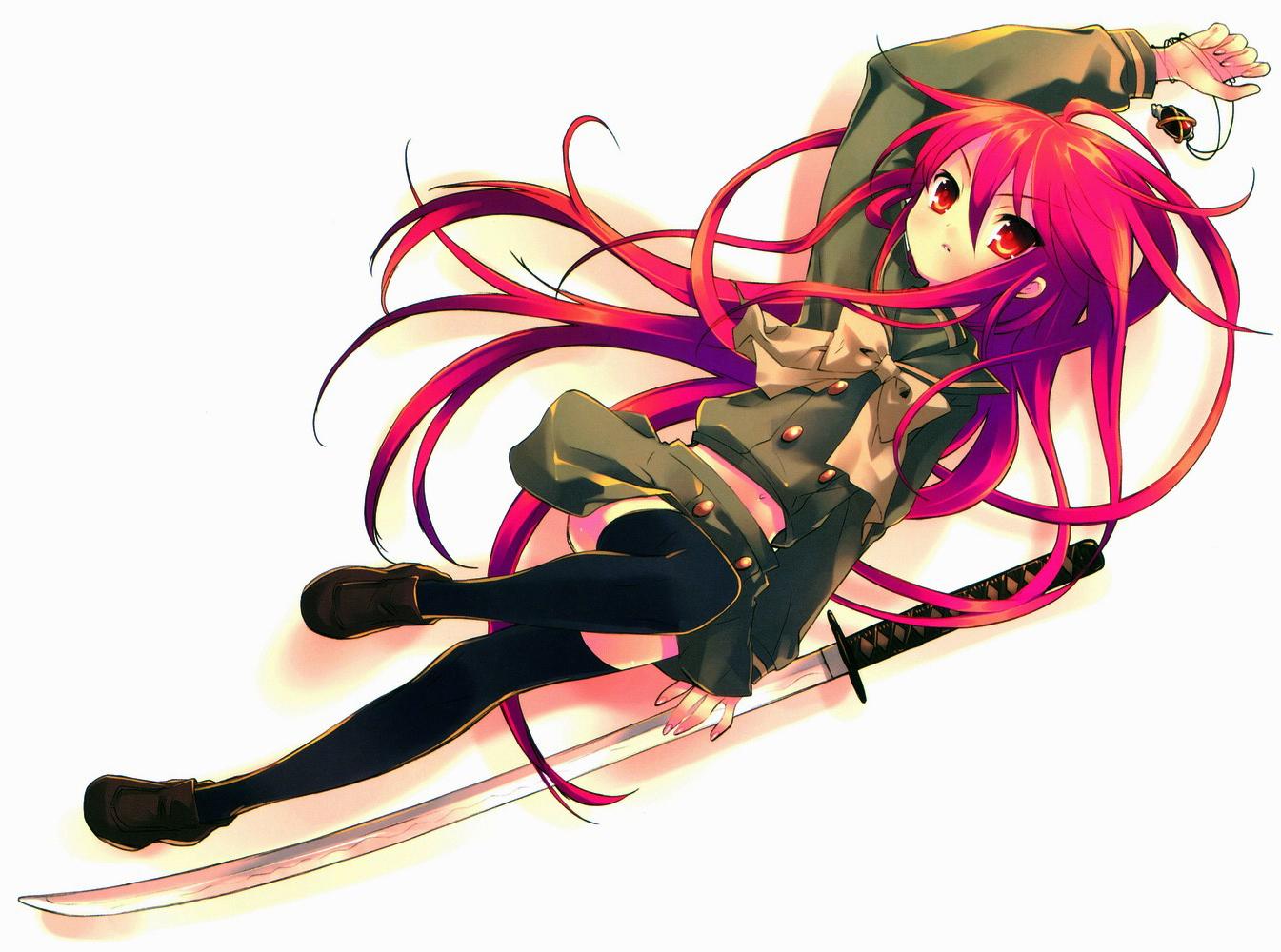 alastor necklace red_eyes red_hair school_uniform shakugan_no_shana shana skirt sword thighhighs weapon white