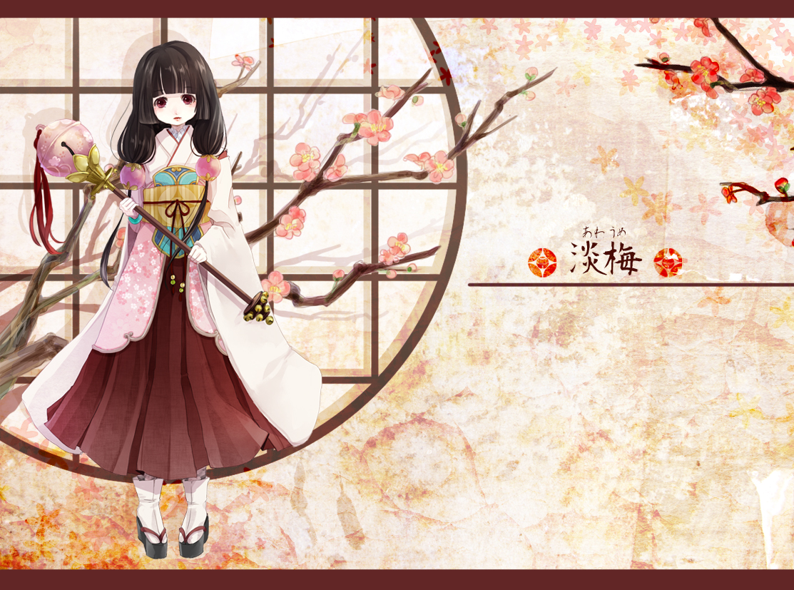 aka_tonbo_(lovetow) bell black_hair flowers japanese_clothes long_hair original red_eyes staff tree twintails