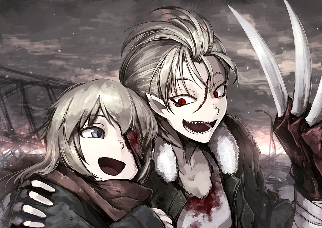 bandage blonde_hair blood blue_eyes hellshock original pointed_ears red_eyes scar scarf short_hair
