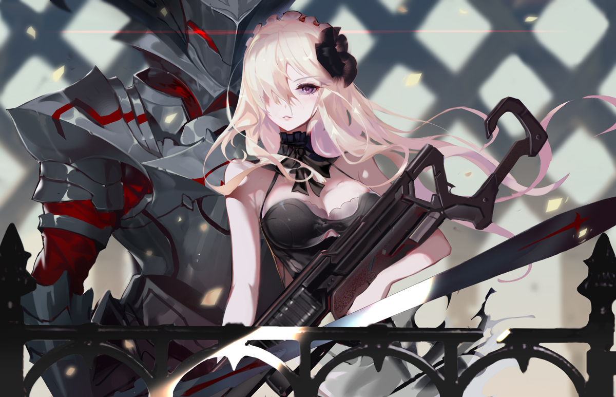 armor blonde_hair breasts fate/apocrypha fate/grand_order fate_(series) flowers gun headdress long_hair mordred purple_eyes rabbit_(tukenitian) weapon