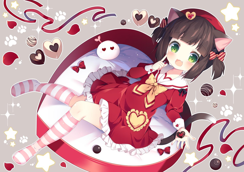 animal_ears anthropomorphism azur_lane brown_hair candy catgirl cat_smile chocolate fang green_eyes kneehighs loli lolita_fashion mutsuki_(azur_lane) school_uniform tail tsukimi_(xiaohuasan) twintails valentine