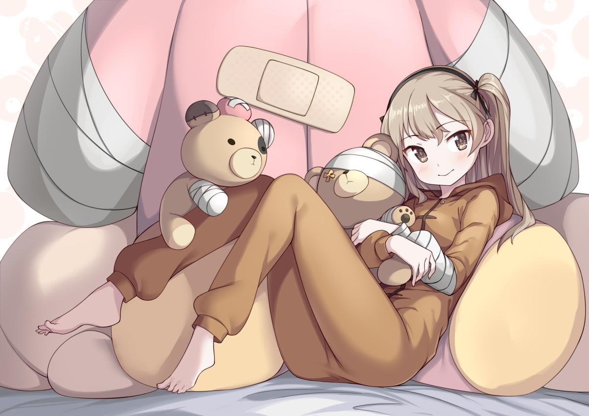 bandage bandaid barefoot blush brown_eyes brown_hair girls_und_panzer headband hoodie pajamas saiste shimada_arisu teddy_bear twintails