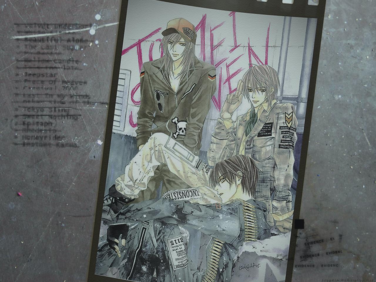 all_male brown_hair gloves graffiti gray_hair hat long_hair male original short_hair shounen_ai skull tagme_(artist) uniform