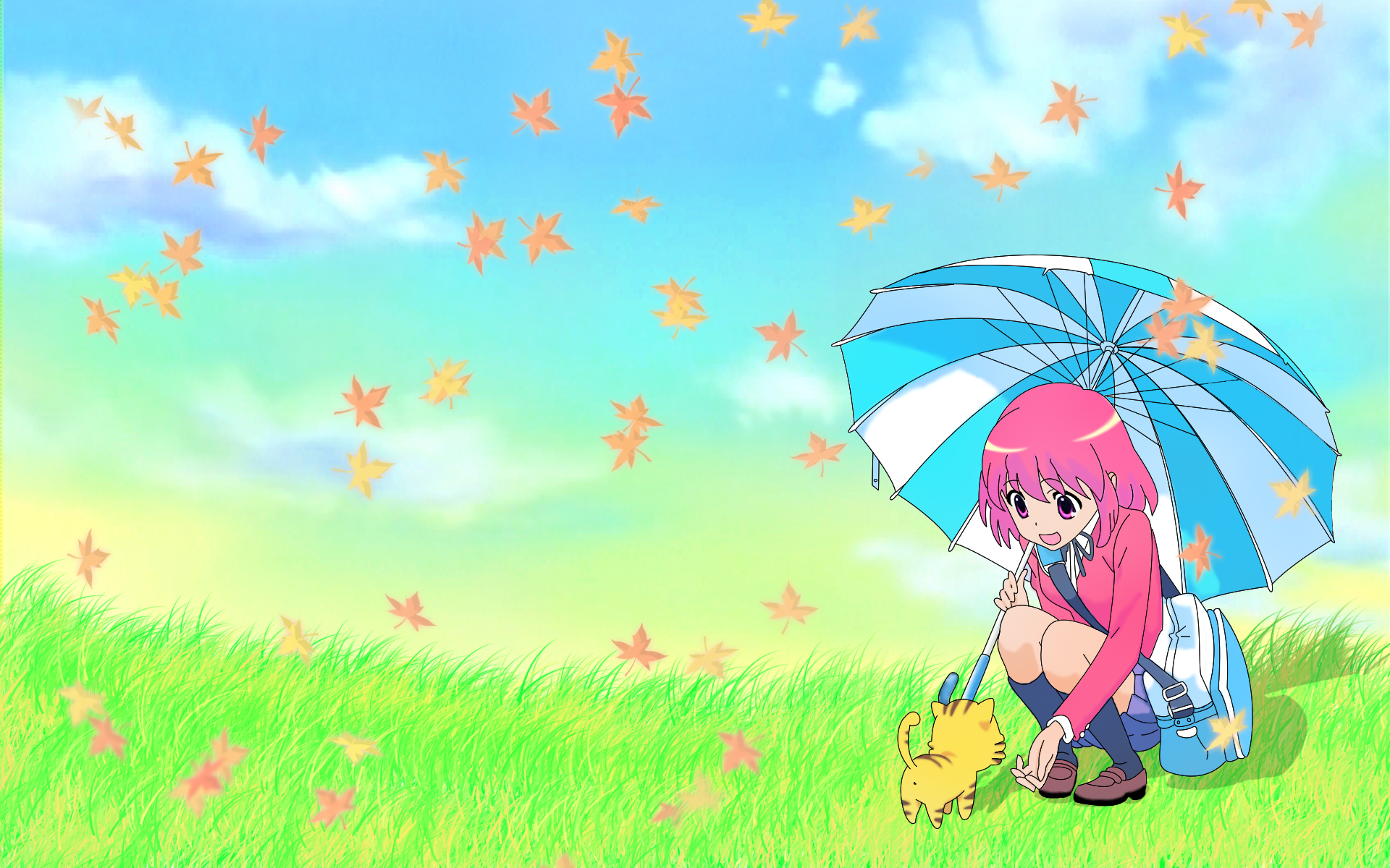 animal kushieda_minori leaves palmtop_tiger sky tiger toradora umbrella