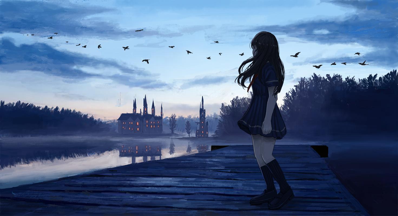 ame_sagari animal bird building clouds kneehighs original school_uniform silhouette sunset tree water
