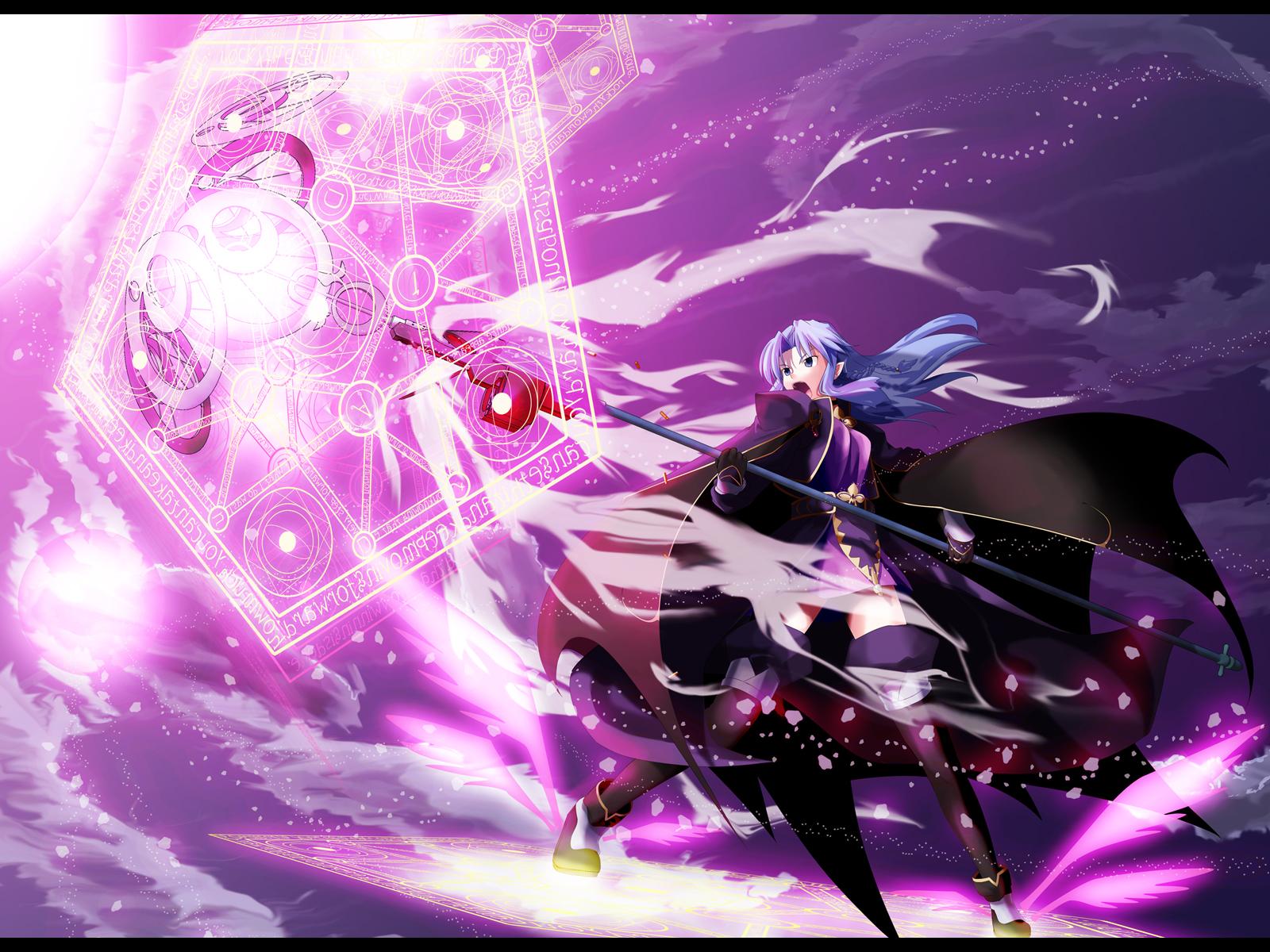 black_eyes cape fate_(series) fate/stay_night gloves long_hair magic medea_(fate) mihane pointed_ears purple_hair staff thighhighs weapon