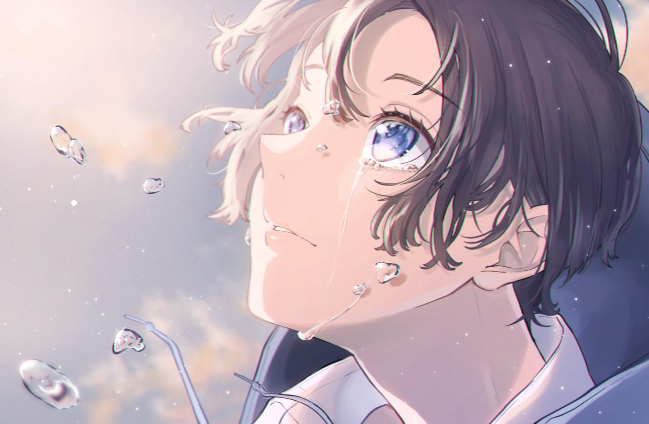 all_male black_hair blue_eyes close male original oto_(8731832) short_hair tears