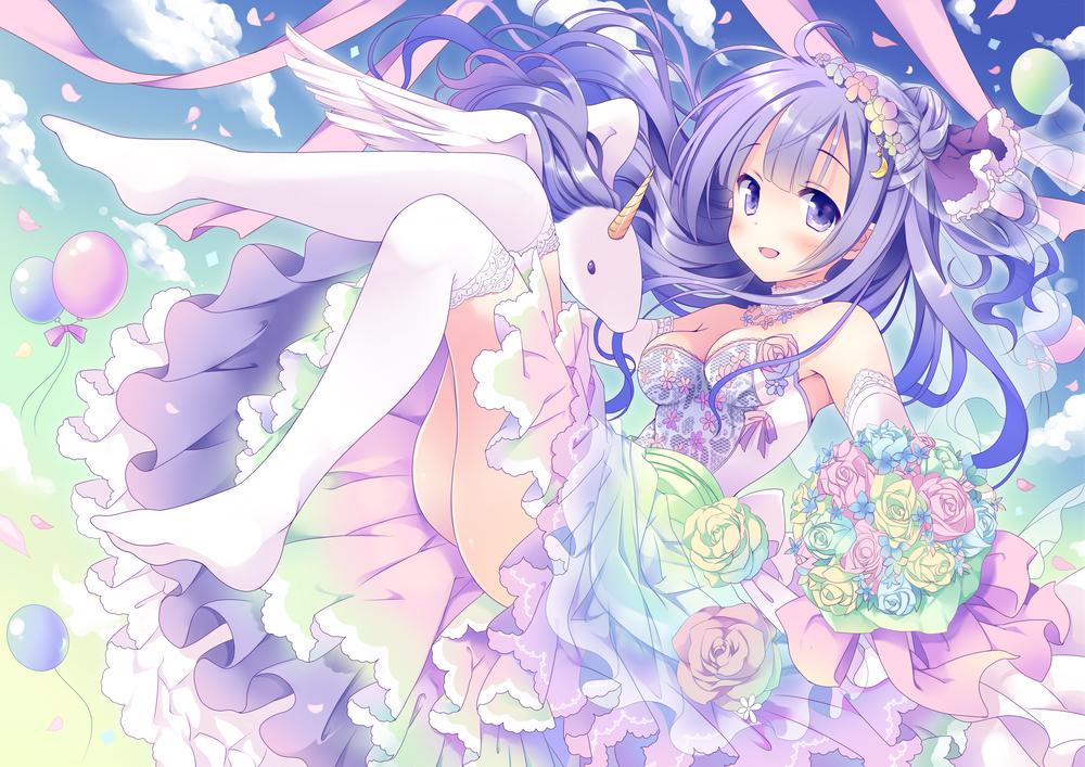 anthropomorphism azur_lane breasts cleavage dress flowers hoshino_koucha long_hair purple_hair thighhighs unicorn_(azur_lane) wedding_attire