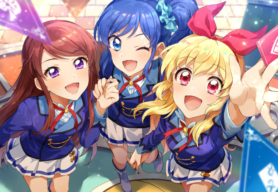 aikatsu! aqua_eyes blonde_hair blue_hair boots brown_hair headband hoshimiya_ichigo kiriya_aoi long_hair ponytail purple_eyes red_eyes shibuki_ran skirt uniform zattape