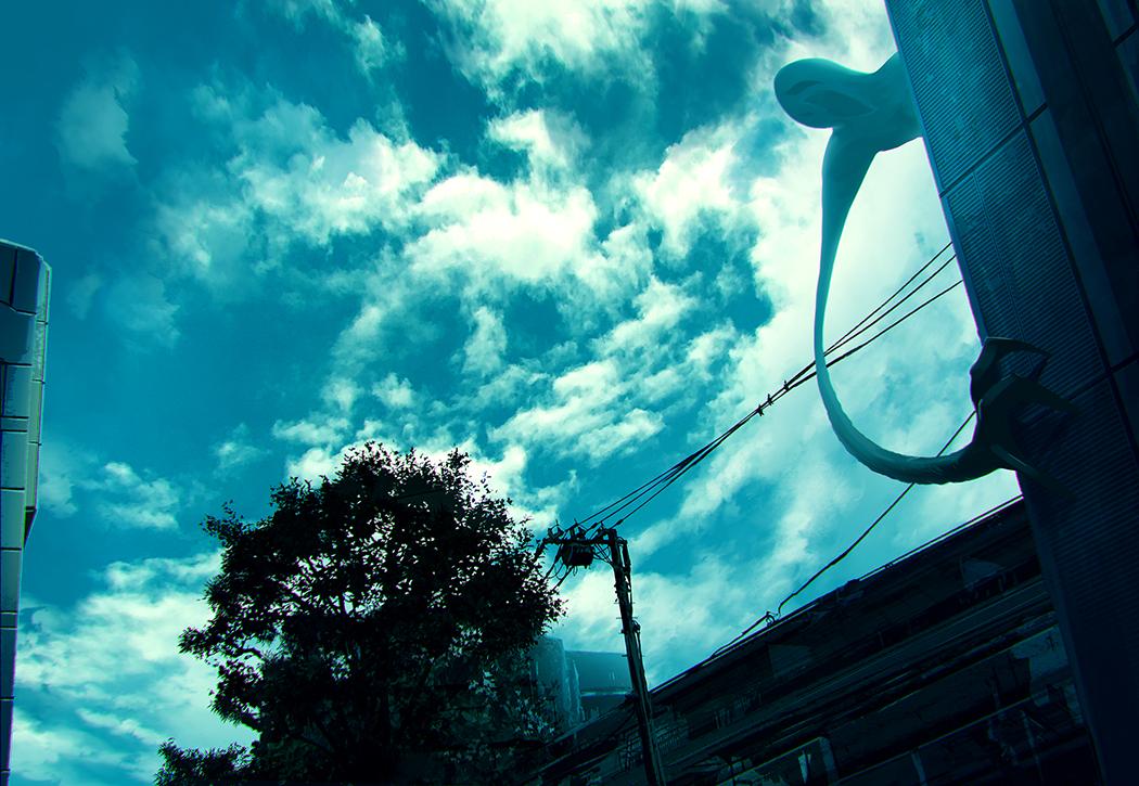 blue building clouds demon original sky tenmaso tree