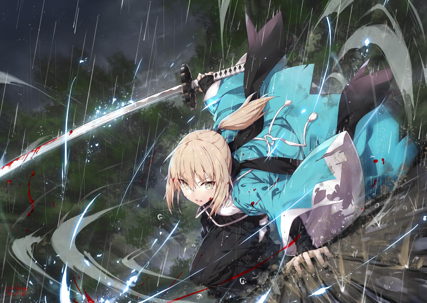 blonde_hair blood fate/grand_order fate_(series) gabiran japanese_clothes okita_souji orange_eyes ponytail rain signed sword water weapon