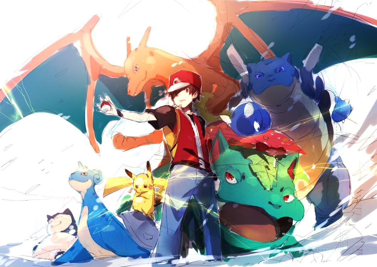 blastoise brown_hair charizard hat lapras pikachu pokemon red_(pokemon) red_eyes snorlax ume_(plumblossom) venusaur wings